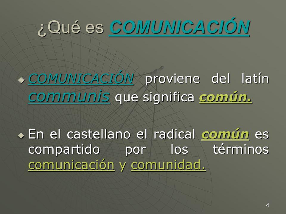 4 ¿Qué es COMUNICACIÓN COMUNICACIÓN proviene del latín communis que significa común.