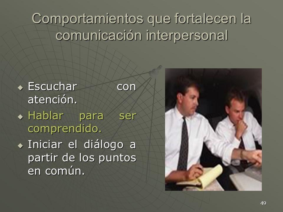 49 Comportamientos que fortalecen la comunicación interpersonal Escuchar con atención.