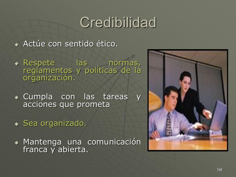 50 Credibilidad Actúe con sentido ético.Actúe con sentido ético.