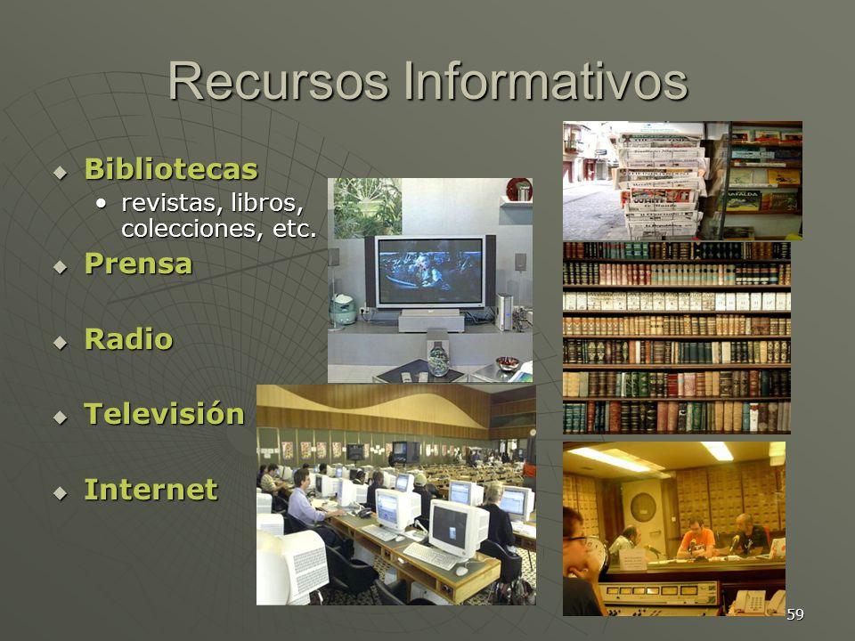 59 Recursos Informativos Bibliotecas Bibliotecas revistas, libros, colecciones, etc.revistas, libros, colecciones, etc.