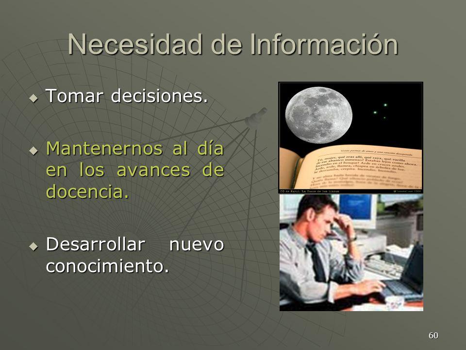 60 Necesidad de Información Tomar decisiones.Tomar decisiones.