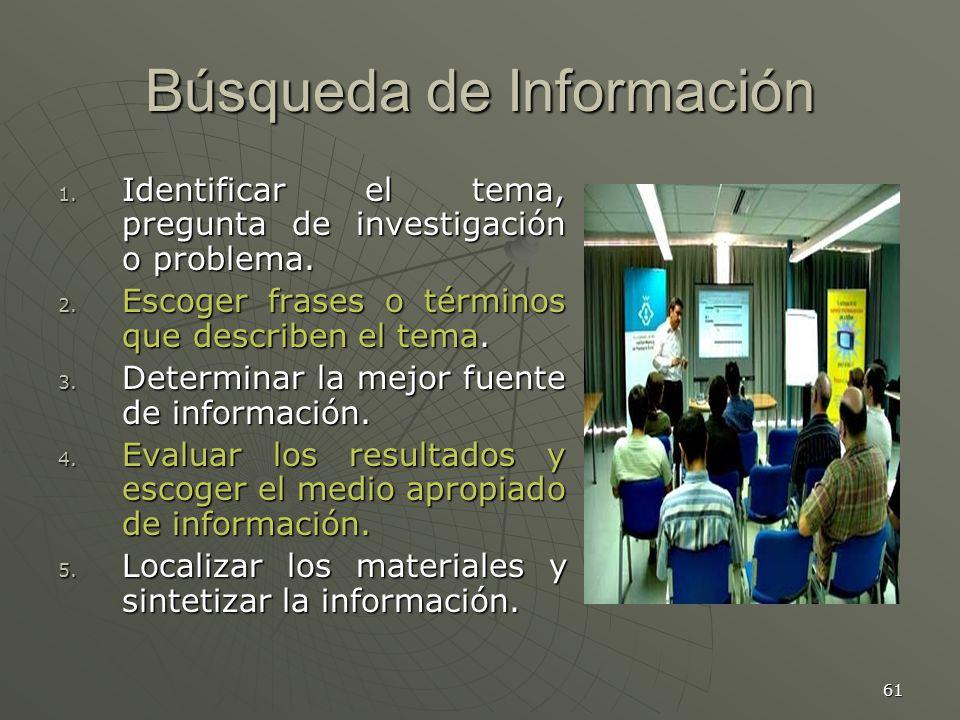 61 Búsqueda de Información 1.Identificar el tema, pregunta de investigación o problema.