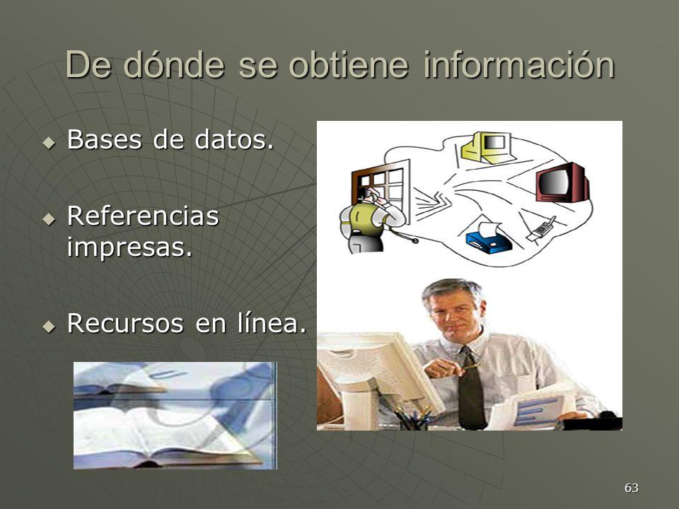 63 De dónde se obtiene información Bases de datos.