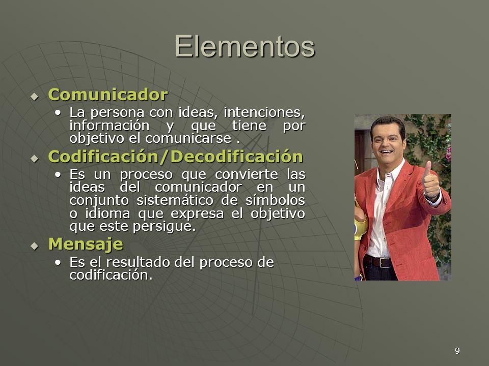 9 Elementos Comunicador Comunicador La persona con ideas, intenciones, información y que tiene por objetivo el comunicarse.La persona con ideas, intenciones, información y que tiene por objetivo el comunicarse.