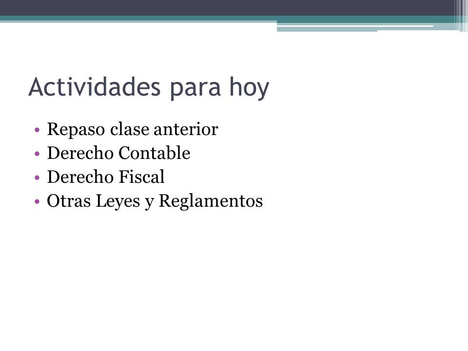 Actividades para hoy Repaso clase anterior Derecho Contable Derecho Fiscal Otras Leyes y Reglamentos