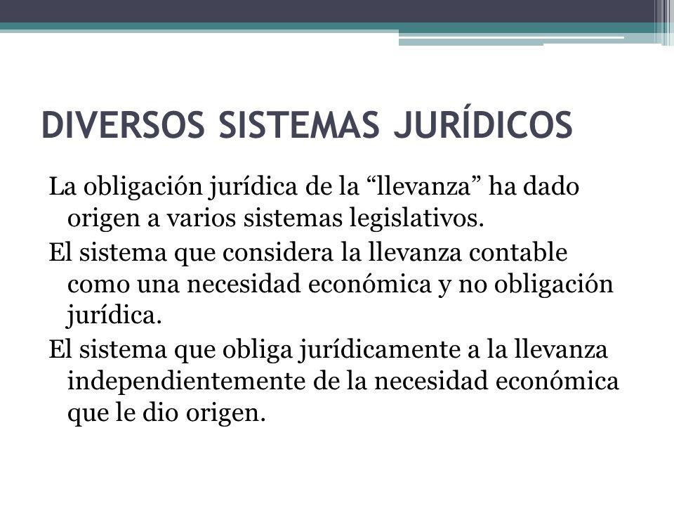 DIVERSOS SISTEMAS JURÍDICOS La obligación jurídica de la llevanza ha dado origen a varios sistemas legislativos. El sistema que considera la llevanza