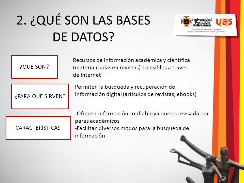 2. ¿QUÉ SON LAS BASES DE DATOS? ¿QUÉ SON? ¿PARA QUÉ SIRVEN? CARACTERÍSTICAS Recursos de información académica y científica (materializadas en revistas