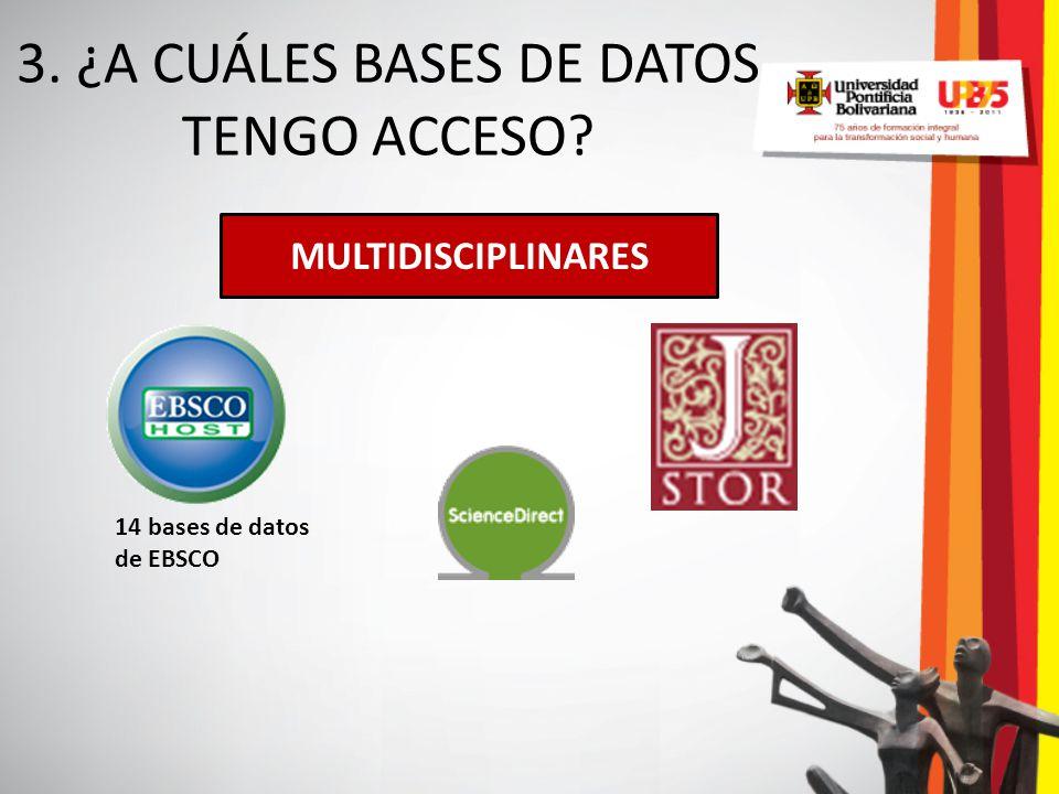 3. ¿A CUÁLES BASES DE DATOS TENGO ACCESO? MULTIDISCIPLINARES 14 bases de datos de EBSCO