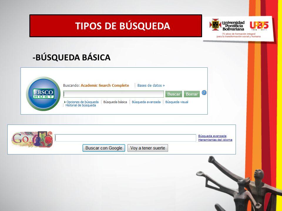 TIPOS DE BÚSQUEDA -BÚSQUEDA BÁSICA