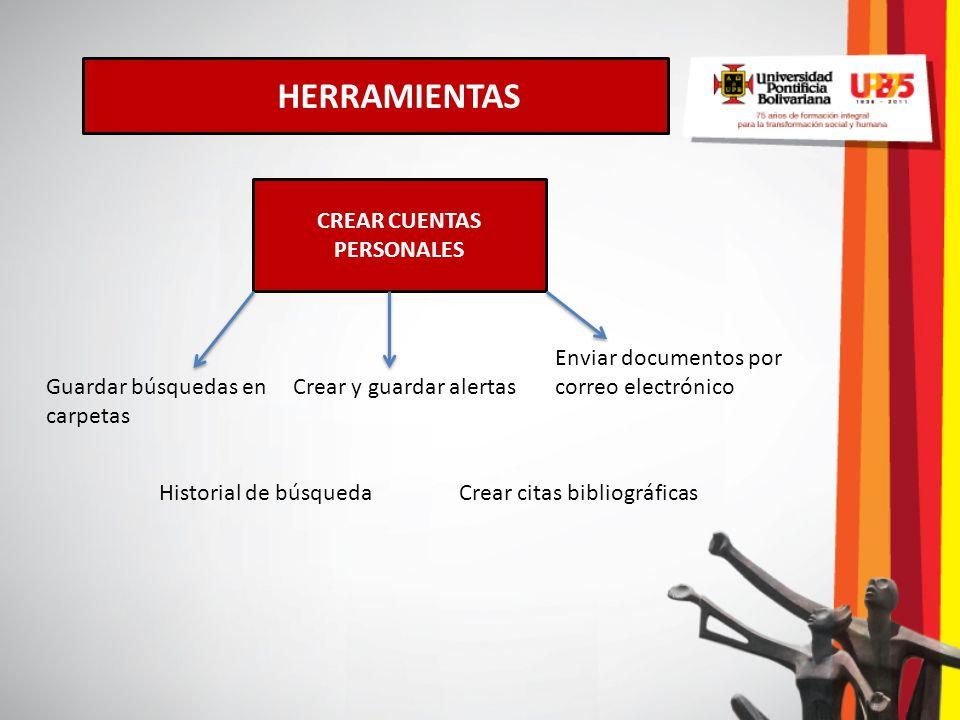 HERRAMIENTAS CREAR CUENTAS PERSONALES Guardar búsquedas en carpetas Crear y guardar alertas Enviar documentos por correo electrónico Crear citas bibli