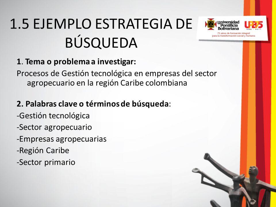 1.5 EJEMPLO ESTRATEGIA DE BÚSQUEDA 1. Tema o problema a investigar: Procesos de Gestión tecnológica en empresas del sector agropecuario en la región C