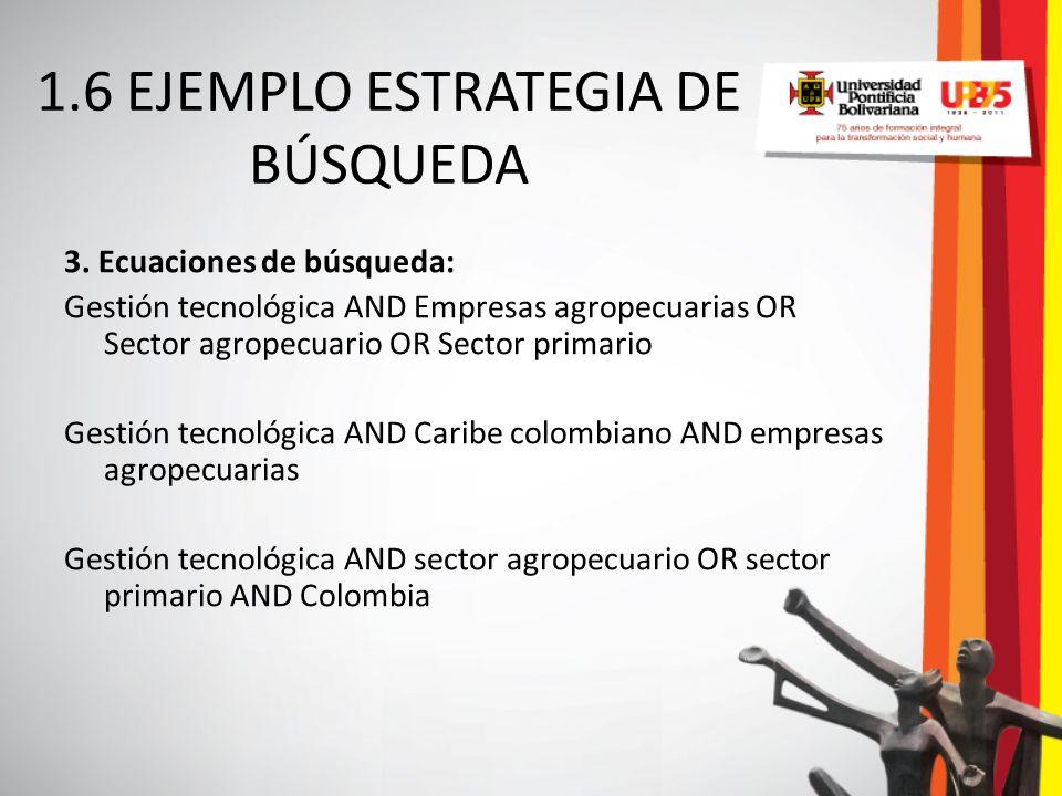 3. Ecuaciones de búsqueda: Gestión tecnológica AND Empresas agropecuarias OR Sector agropecuario OR Sector primario Gestión tecnológica AND Caribe col
