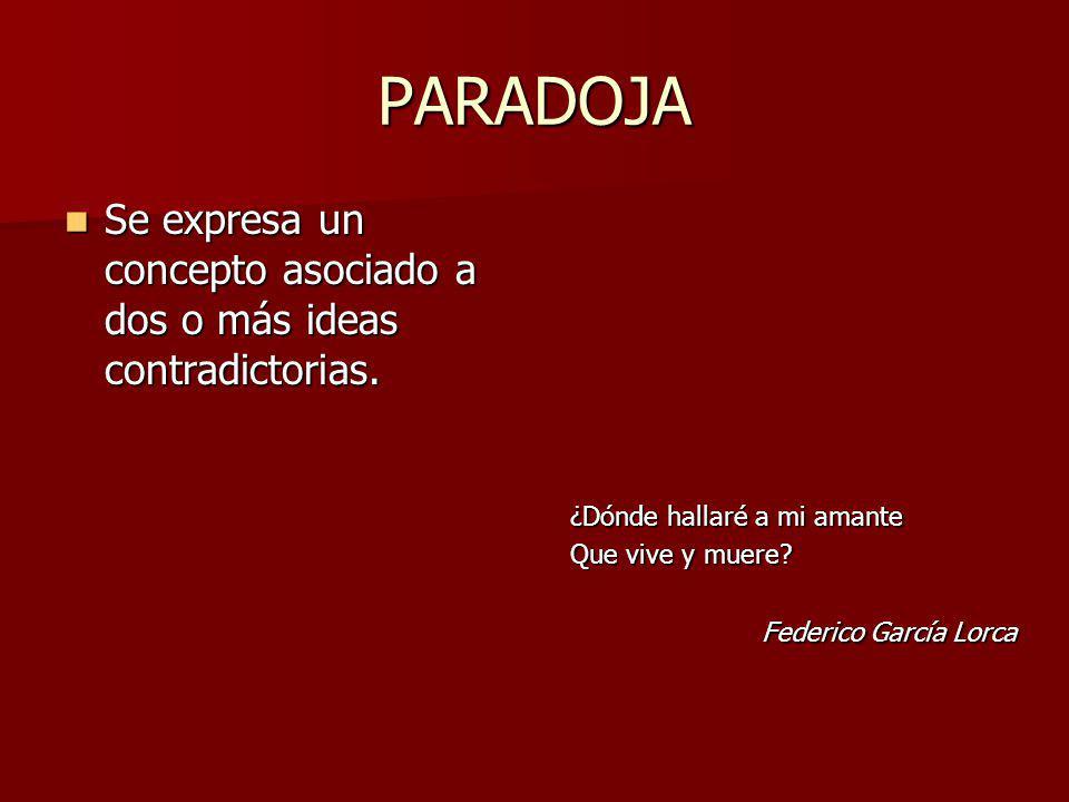PARADOJA Se expresa un concepto asociado a dos o más ideas contradictorias. Se expresa un concepto asociado a dos o más ideas contradictorias. ¿Dónde