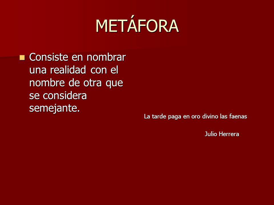 METÁFORA Consiste en nombrar una realidad con el nombre de otra que se considera semejante.