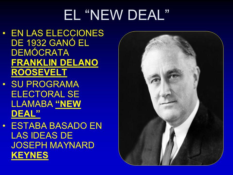 EL NEW DEAL EN LAS ELECCIONES DE 1932 GANÓ EL DEMÓCRATA FRANKLIN DELANO ROOSEVELT SU PROGRAMA ELECTORAL SE LLAMABA NEW DEAL ESTABA BASADO EN LAS IDEAS