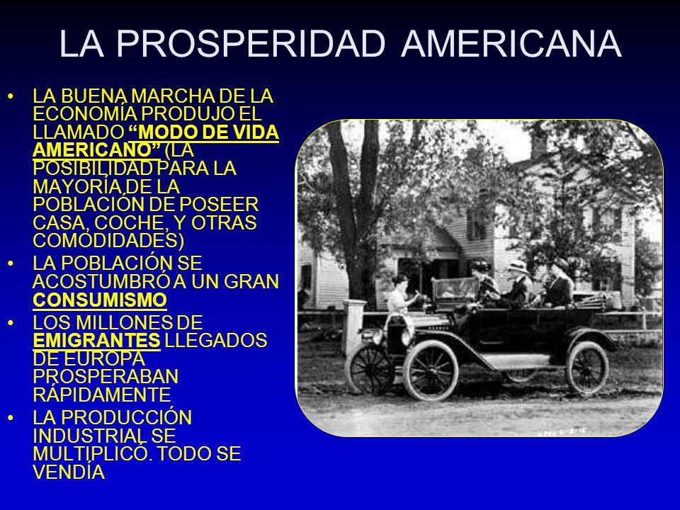 LA PROSPERIDAD AMERICANA LA BUENA MARCHA DE LA ECONOMÍA PRODUJO EL LLAMADO MODO DE VIDA AMERICANO (LA POSIBILIDAD PARA LA MAYORÍA DE LA POBLACIÓN DE P
