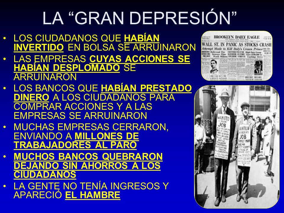 LA GRAN DEPRESIÓN LOS CIUDADANOS QUE HABÍAN INVERTIDO EN BOLSA SE ARRUINARON LAS EMPRESAS CUYAS ACCIONES SE HABÍAN DESPLOMADO SE ARRUINARON LOS BANCOS