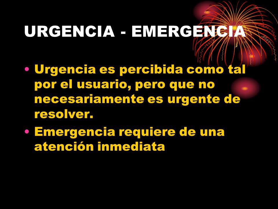 URGENCIA - EMERGENCIA Urgencia es percibida como tal por el usuario, pero que no necesariamente es urgente de resolver. Emergencia requiere de una ate