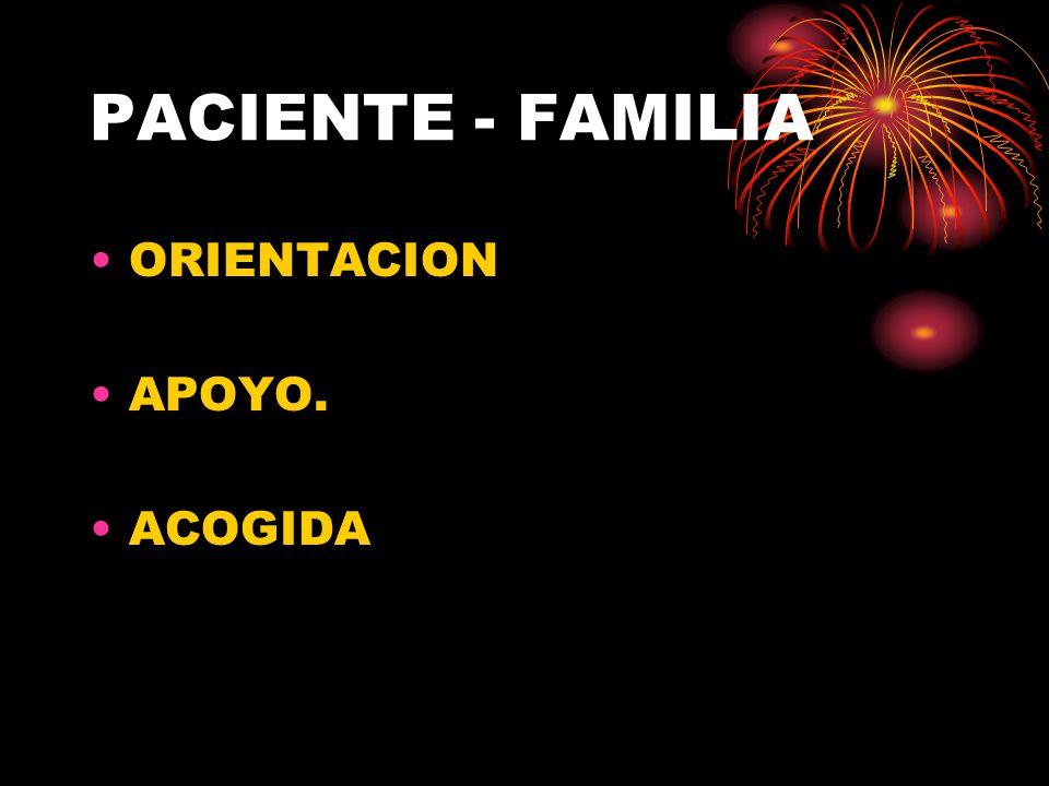 PACIENTE - FAMILIA ORIENTACION APOYO. ACOGIDA