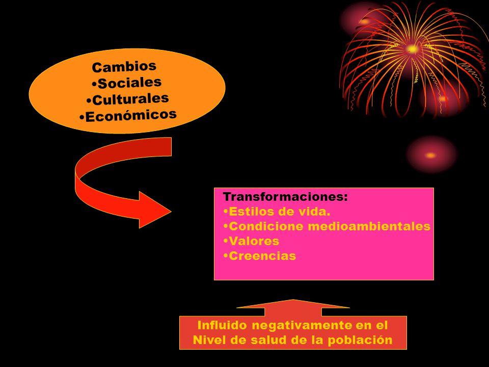 Cambios Sociales Culturales Económicos Transformaciones: Estilos de vida. Condicione medioambientales Valores Creencias Influido negativamente en el N