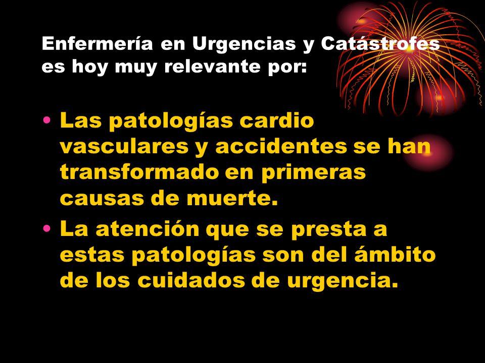 Enfermería en Urgencias y Catástrofes es hoy muy relevante por: Las patologías cardio vasculares y accidentes se han transformado en primeras causas d
