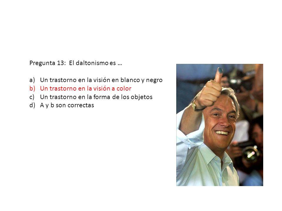 Pregunta 13: El daltonismo es … a)Un trastorno en la visión en blanco y negro b)Un trastorno en la visión a color c)Un trastorno en la forma de los ob