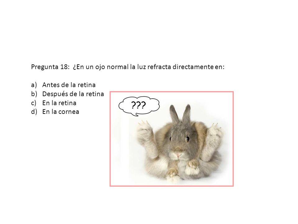 Pregunta 18: ¿En un ojo normal la luz refracta directamente en: a)Antes de la retina b)Después de la retina c)En la retina d)En la cornea