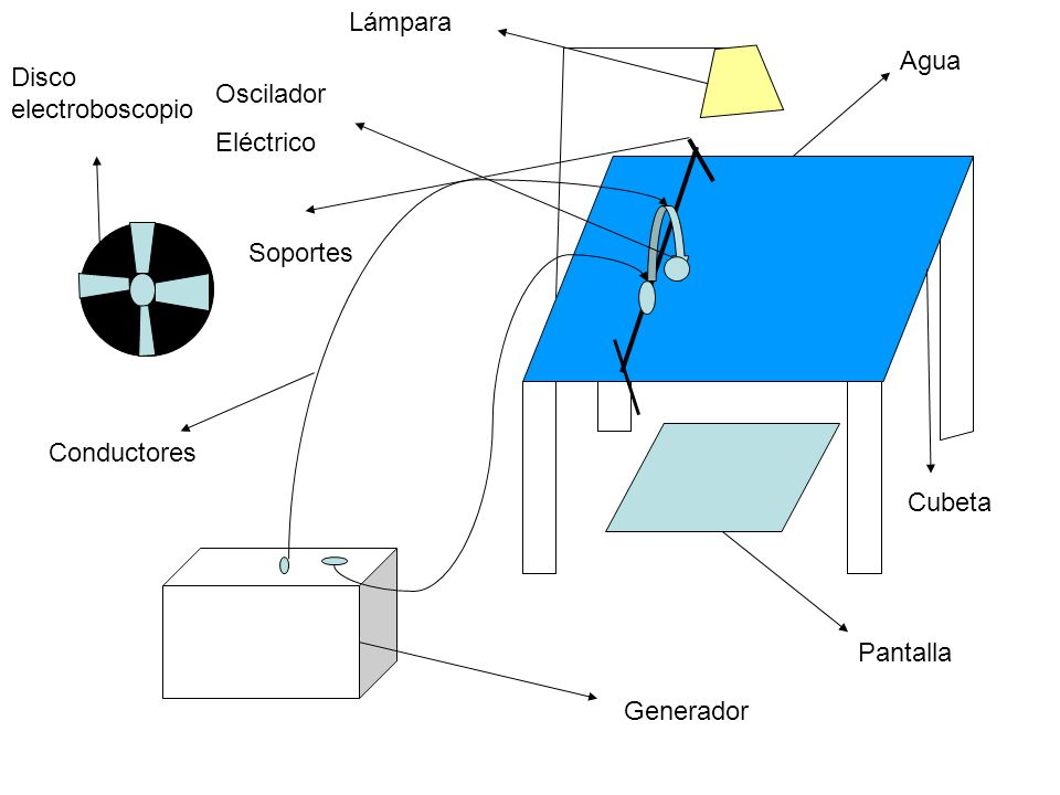 Generador Conductores Oscilador Eléctrico Pantalla Agua Cubeta Lámpara Soportes Disco electroboscopio