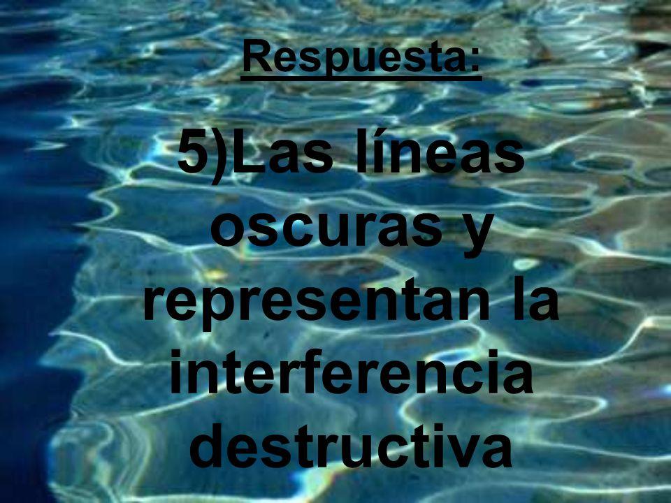 5)Las líneas oscuras y representan la interferencia destructiva Respuesta: