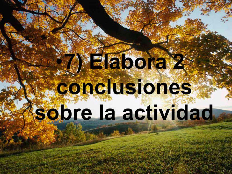 7) Elabora 2 conclusiones sobre la actividad