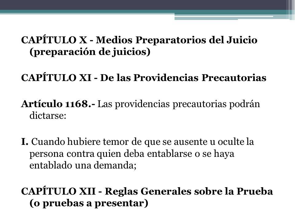 CAPÍTULO X - Medios Preparatorios del Juicio (preparación de juicios) CAPÍTULO XI - De las Providencias Precautorias Artículo 1168.- Las providencias