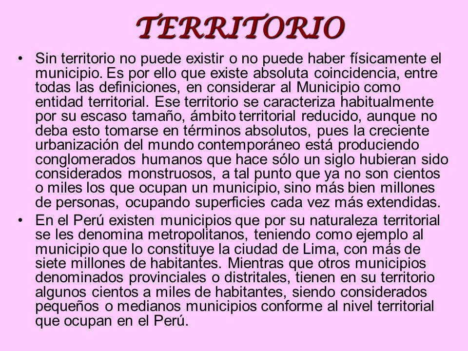 TERRITORIO Sin territorio no puede existir o no puede haber físicamente el municipio. Es por ello que existe absoluta coincidencia, entre todas las de