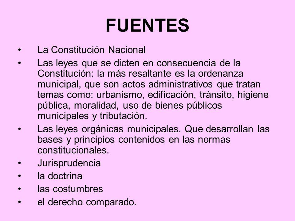 FUENTES La Constitución Nacional Las leyes que se dicten en consecuencia de la Constitución: la más resaltante es la ordenanza municipal, que son acto