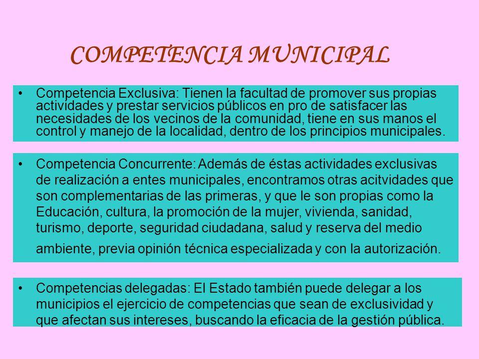 COMPETENCIA MUNICIPAL Competencia Exclusiva: Tienen la facultad de promover sus propias actividades y prestar servicios públicos en pro de satisfacer las necesidades de los vecinos de la comunidad, tiene en sus manos el control y manejo de la localidad, dentro de los principios municipales.