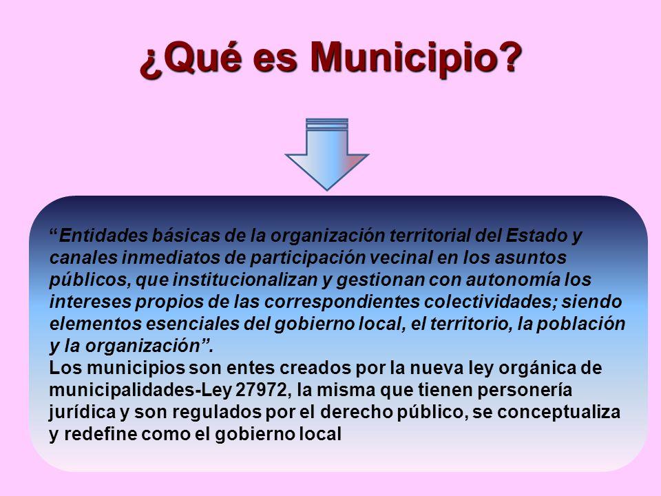 ¿Qué es Municipio? Entidades básicas de la organización territorial del Estado y canales inmediatos de participación vecinal en los asuntos públicos,