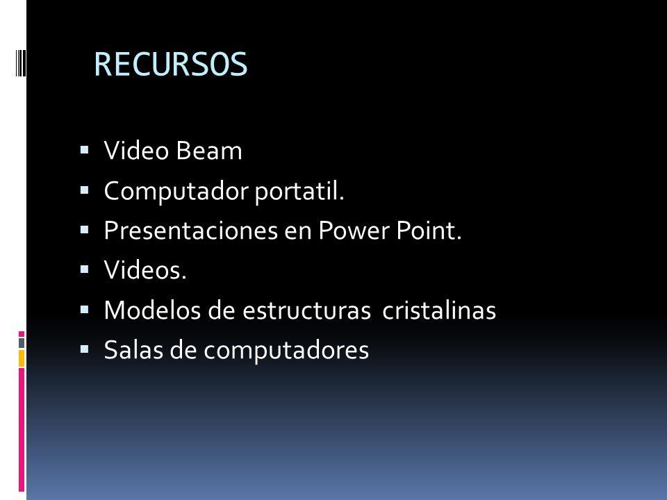 RECURSOS Video Beam Computador portatil. Presentaciones en Power Point.