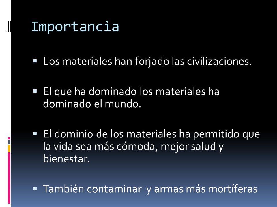 Importancia Los materiales han forjado las civilizaciones.