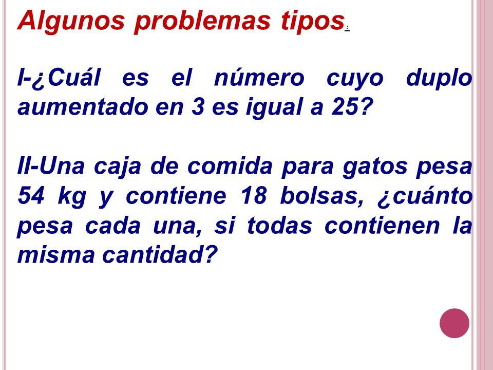 Algunos problemas tipos : I-¿Cuál es el número cuyo duplo aumentado en 3 es igual a 25? II-Una caja de comida para gatos pesa 54 kg y contiene 18 bols