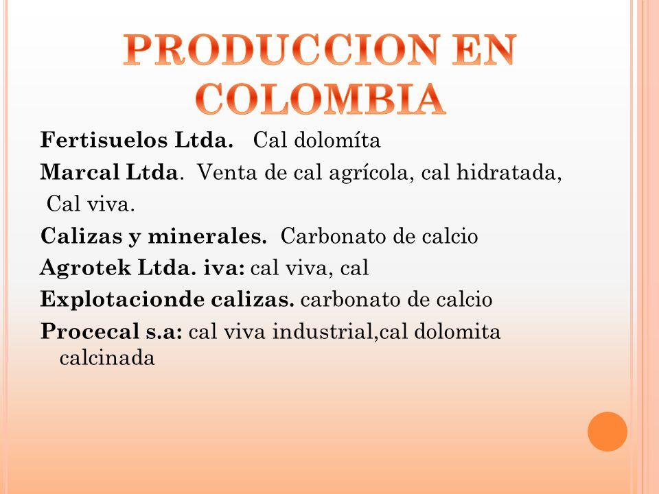 Fertisuelos Ltda. Cal dolomíta Marcal Ltda. Venta de cal agrícola, cal hidratada, Cal viva. Calizas y minerales. Carbonato de calcio Agrotek Ltda. iva