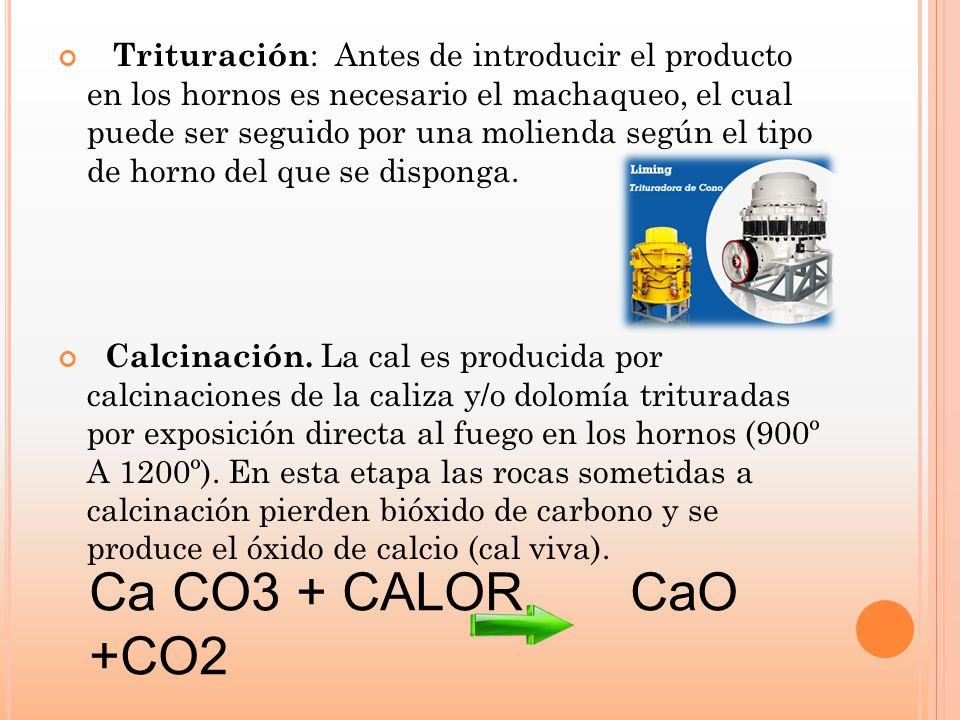 Trituración : Antes de introducir el producto en los hornos es necesario el machaqueo, el cual puede ser seguido por una molienda según el tipo de hor
