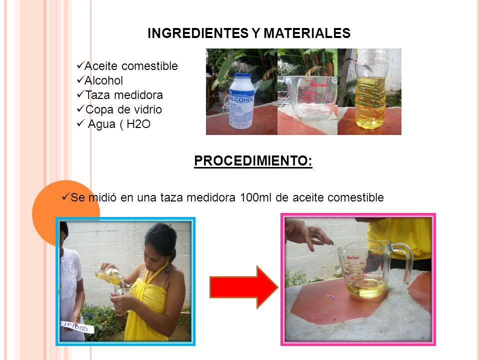 Se adiciono el aceite a una copa de vidrio Seguidamente se agrego una porción de alcohol y agua.