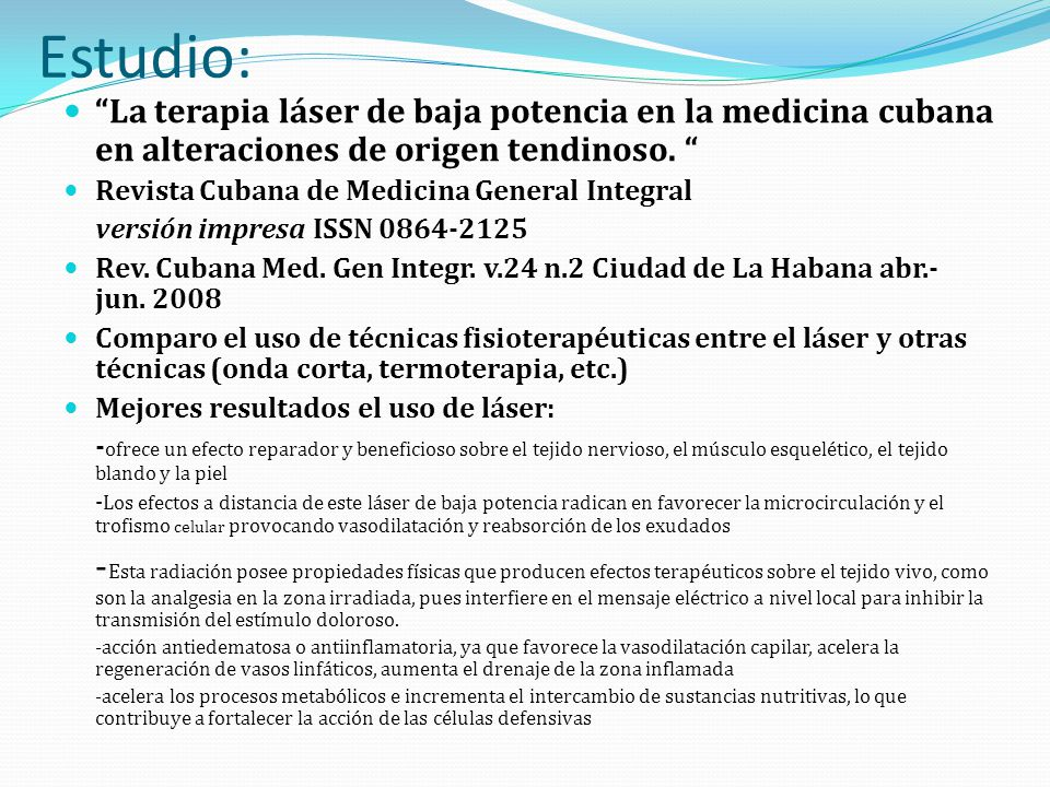 Estudio: La terapia láser de baja potencia en la medicina cubana en alteraciones de origen tendinoso. Revista Cubana de Medicina General Integral vers