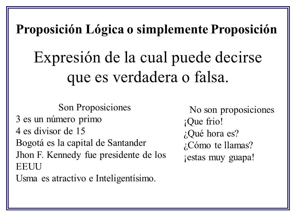 Proposición Lógica o simplemente Proposición Expresión de la cual puede decirse que es verdadera o falsa. Son Proposiciones 3 es un número primo 4 es
