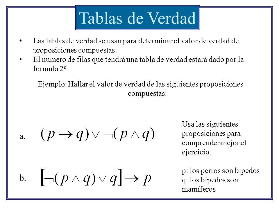 Tablas de Verdad Las tablas de verdad se usan para determinar el valor de verdad de proposiciones compuestas. El numero de filas que tendrá una tabla