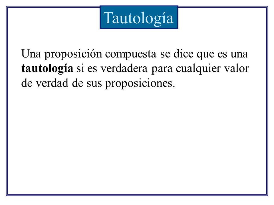 Tautología Una proposición compuesta se dice que es una tautología si es verdadera para cualquier valor de verdad de sus proposiciones.