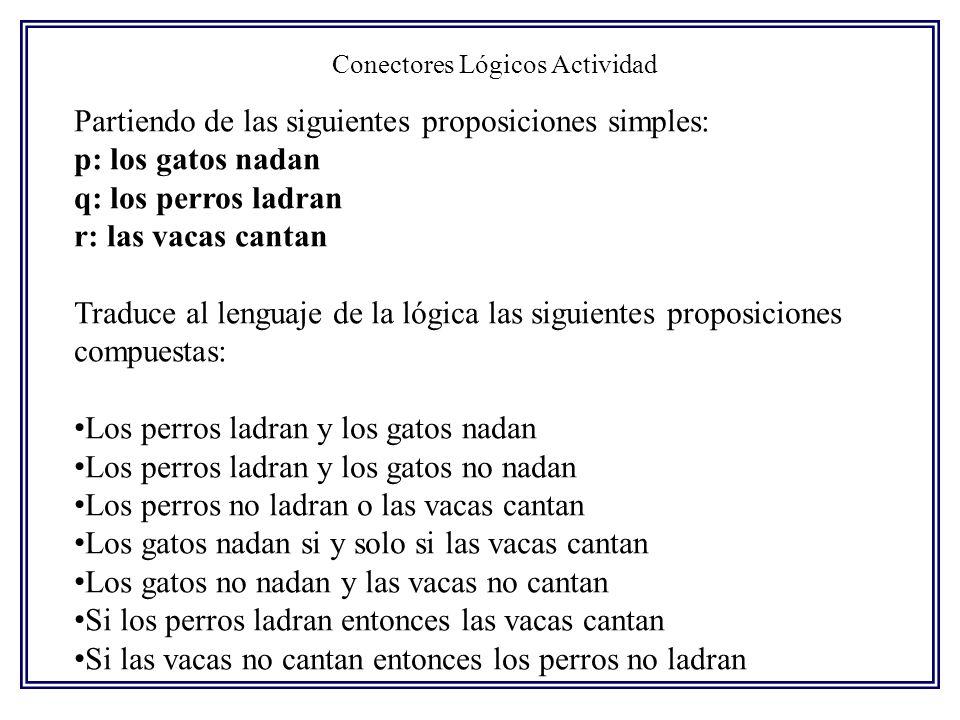 Conectores Lógicos Actividad Partiendo de las siguientes proposiciones simples: p: los gatos nadan q: los perros ladran r: las vacas cantan Traduce al