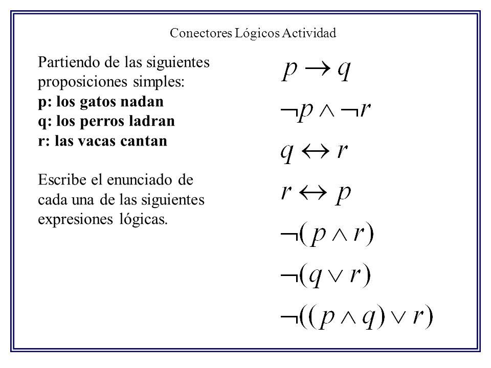 Conectores Lógicos Actividad Partiendo de las siguientes proposiciones simples: p: los gatos nadan q: los perros ladran r: las vacas cantan Escribe el