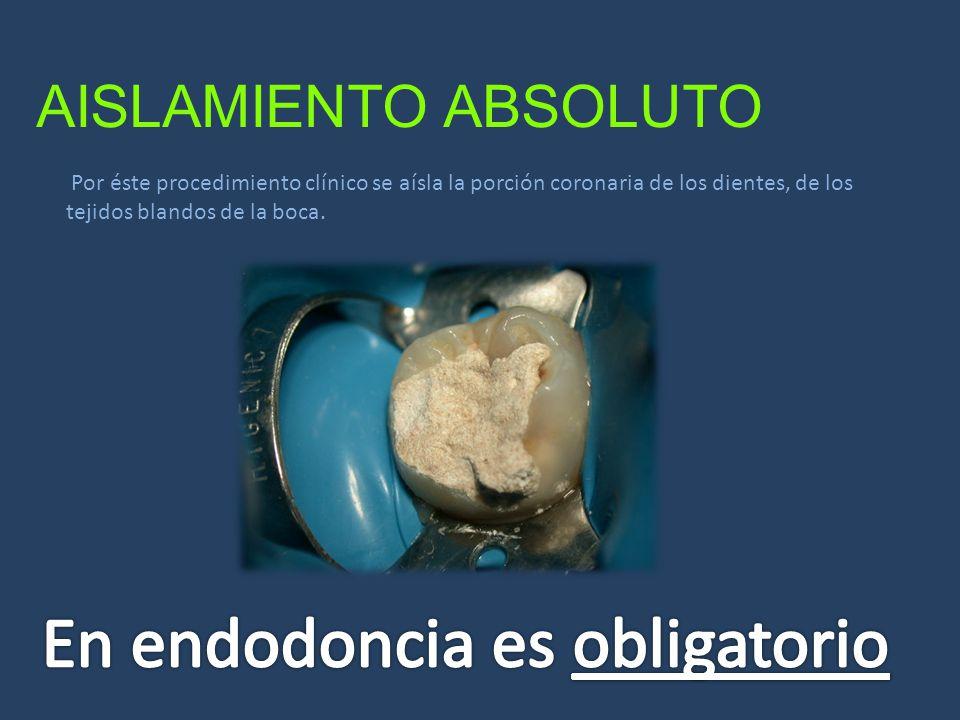 AISLAMIENTO ABSOLUTO Por éste procedimiento clínico se aísla la porción coronaria de los dientes, de los tejidos blandos de la boca.