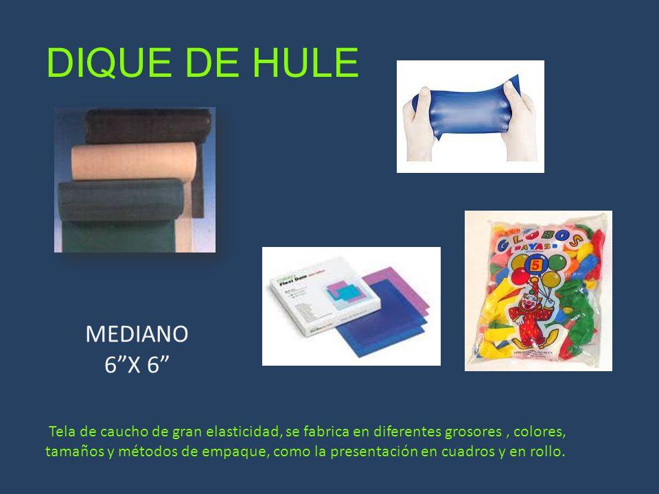 DIQUE DE HULE Tela de caucho de gran elasticidad, se fabrica en diferentes grosores, colores, tamaños y métodos de empaque, como la presentación en cu