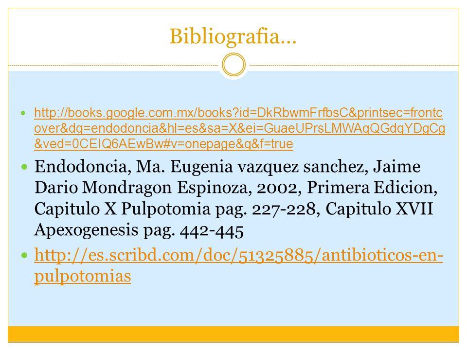 Bibliografia… http://books.google.com.mx/books?id=DkRbwmFrfbsC&printsec=frontc over&dq=endodoncia&hl=es&sa=X&ei=GuaeUPrsLMWAqQGdqYDgCg &ved=0CEIQ6AEwBw#v=onepage&q&f=true http://books.google.com.mx/books?id=DkRbwmFrfbsC&printsec=frontc over&dq=endodoncia&hl=es&sa=X&ei=GuaeUPrsLMWAqQGdqYDgCg &ved=0CEIQ6AEwBw#v=onepage&q&f=true Endodoncia, Ma.